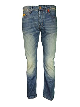 6365210a Superdry Officer Straight Jeans Blue Worn 32S Blue Worn: Amazon.co.uk:  Clothing