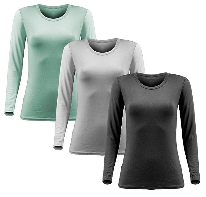 Damen Frauen Langarm T Shirt - 3er Pack - Basic TShirt - Basis Bluse - Tops  - 3x Creme: Amazon.de: Bekleidung