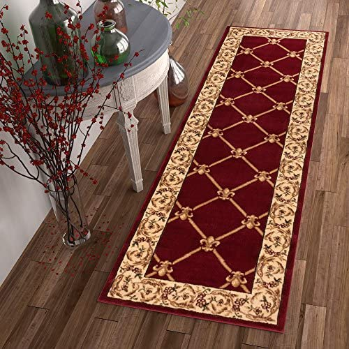 Patrician Trellis Red French European Formal Traditional 3×12 2 7 x 12 Runner Rug Stain Fade Resistant Contemporary Floral Thick Soft Plush Hallway Entryway Living Dining Room Area Rug