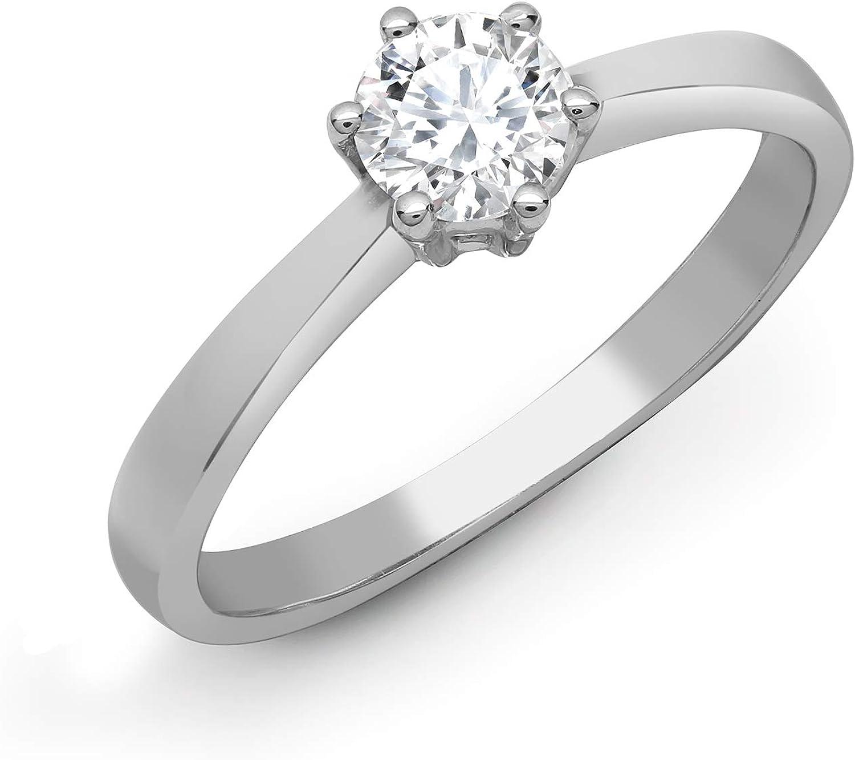 Jewelco Europa Juego de 6 garras de platino sólido para mujer, redondo G SI1 de 0,25 ct, anillo de compromiso con solitario de diamantes, 5,5 mm