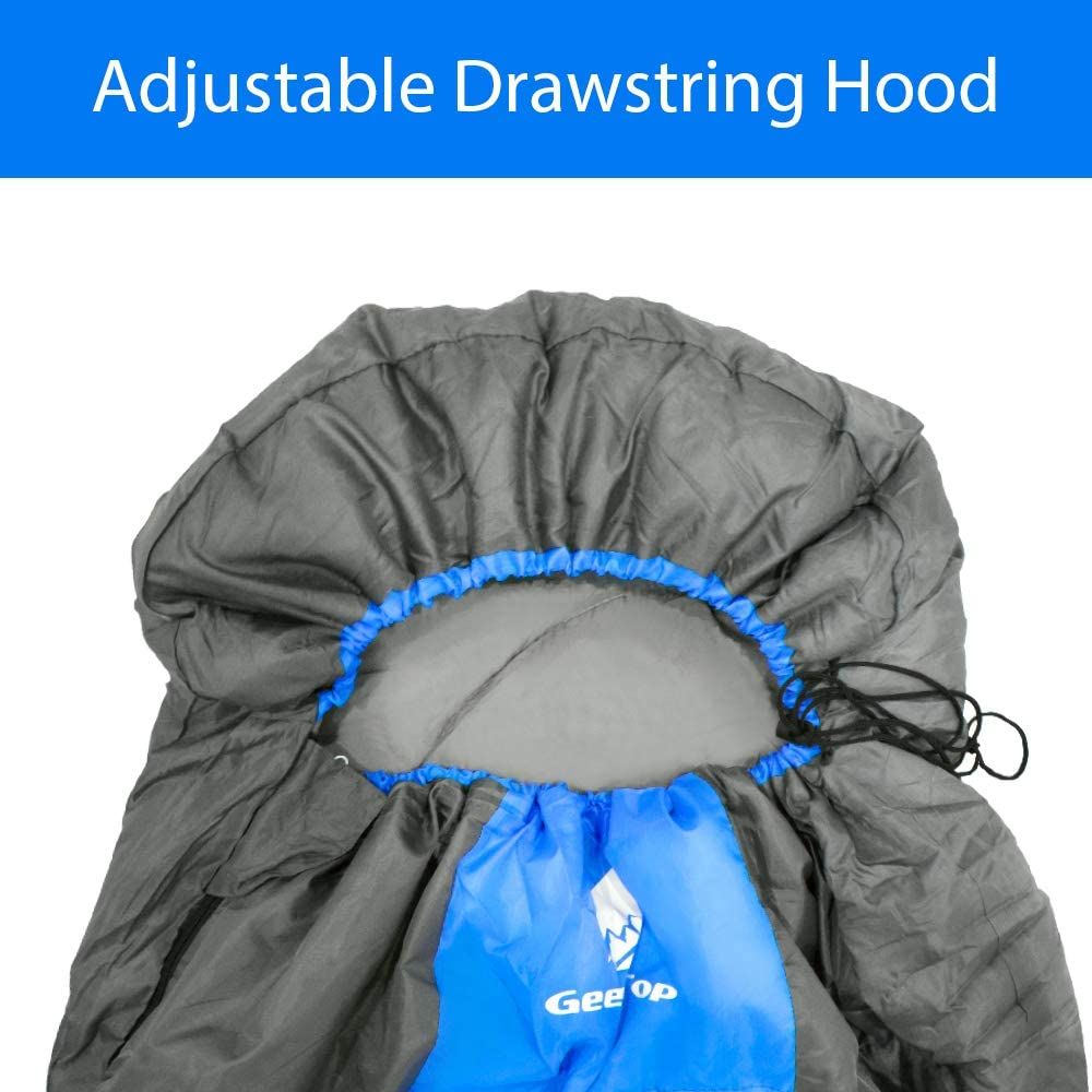 to Larger Sleeping Bag for Double Outdoor Traveling 5/°C to 12/°C Warm Weather Geertop Portable Camping Sleeping Bag 3 Season Lightweight Waterproof Envelope Sleeping Bag for Adults /& Kids Splicable