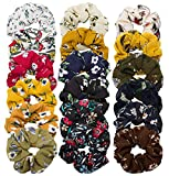 Wecoe 18 Pack Chiffon Flower Hair Ties Hair Scrunchies Soft Scrunchies Elastic Hair Accessories Hair Bands Ropes Normal Size, 18 Colors