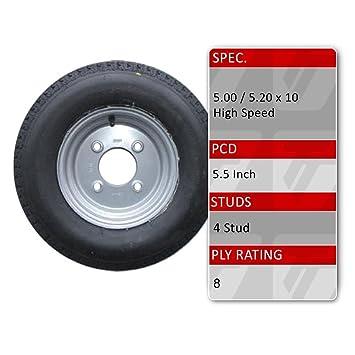 5.00 x 10 remolque rueda y neumático de 8 capas 4 Stud 5.5 ...