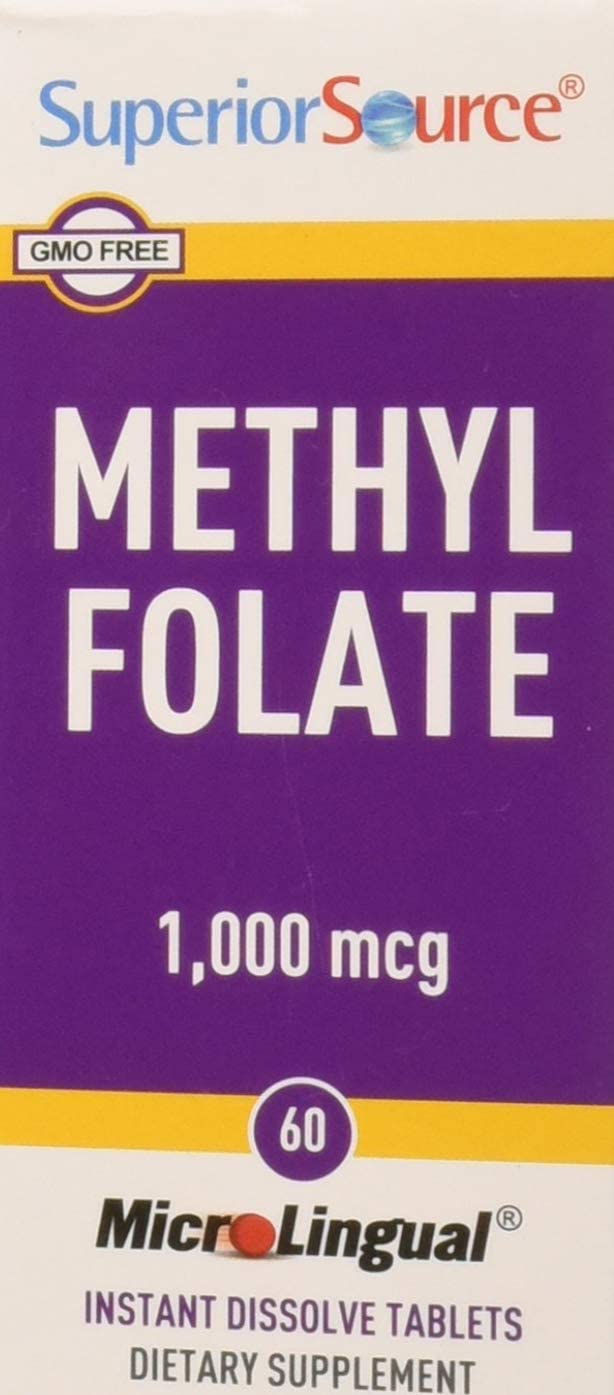 Superior Source Methyl Folate 5-MTHF 1000 mcg Sublingual Tablets - Methylfolate Instant Dissolve Melts - 60 Count
