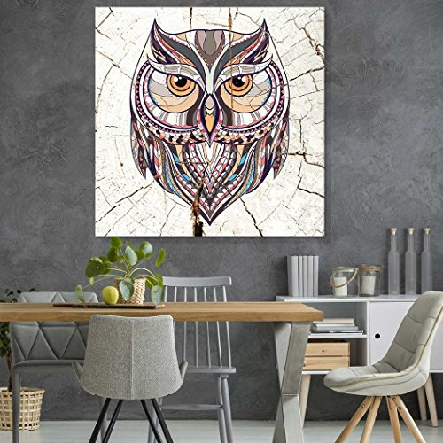 Square Pattern Owl Wood Effect