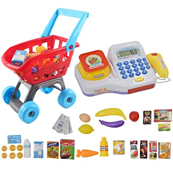 deAO Caja Registradora Calculadora Electrónica Infantil Conjunto Carrito de Compras y Accesorios Set de Supermercado 2 en 1 Incluye Comida de Juguete y ...