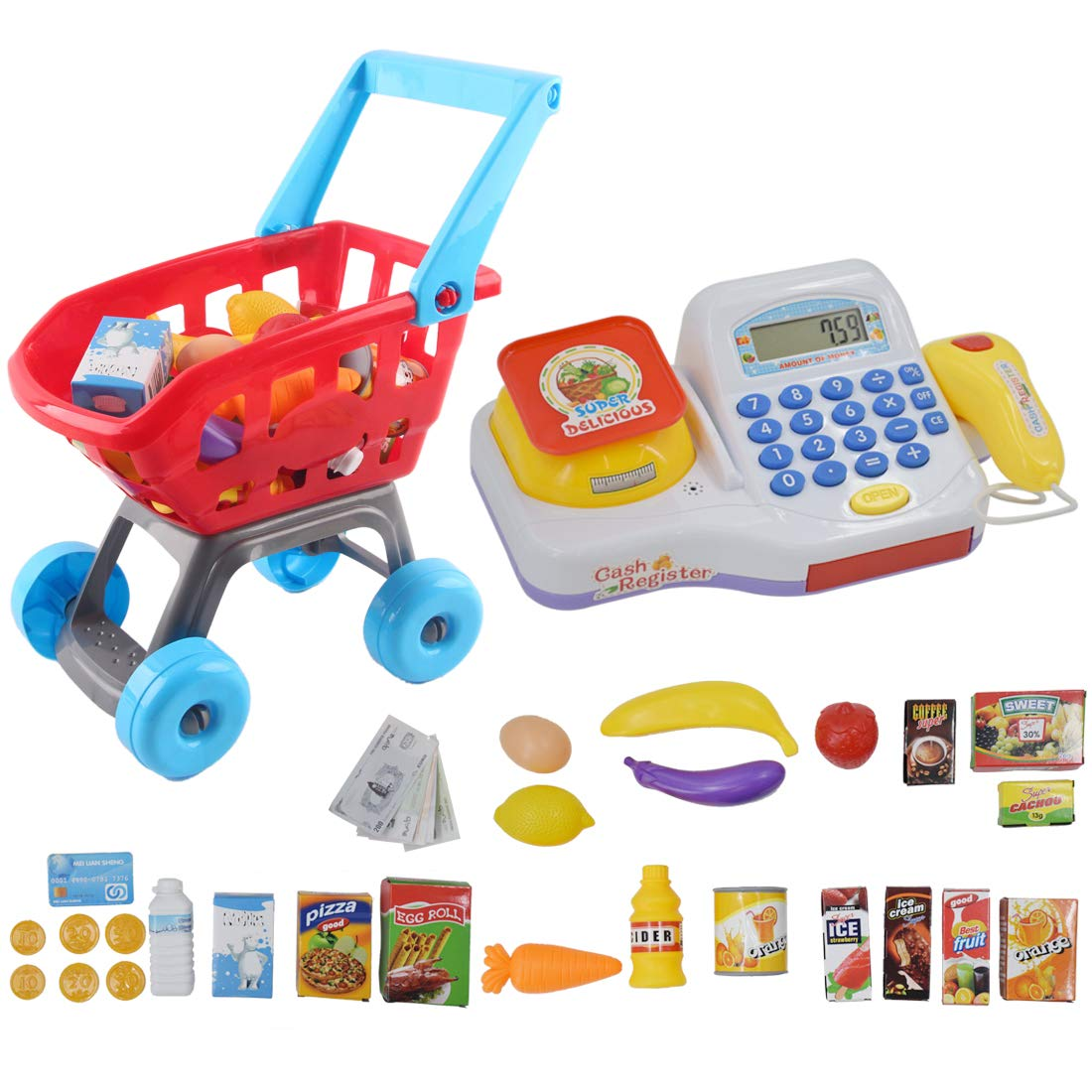 deAO Cash Register Electronic Calculator and Shopping Cart Playset Supermarket Accessories Play Food and Play Money Included