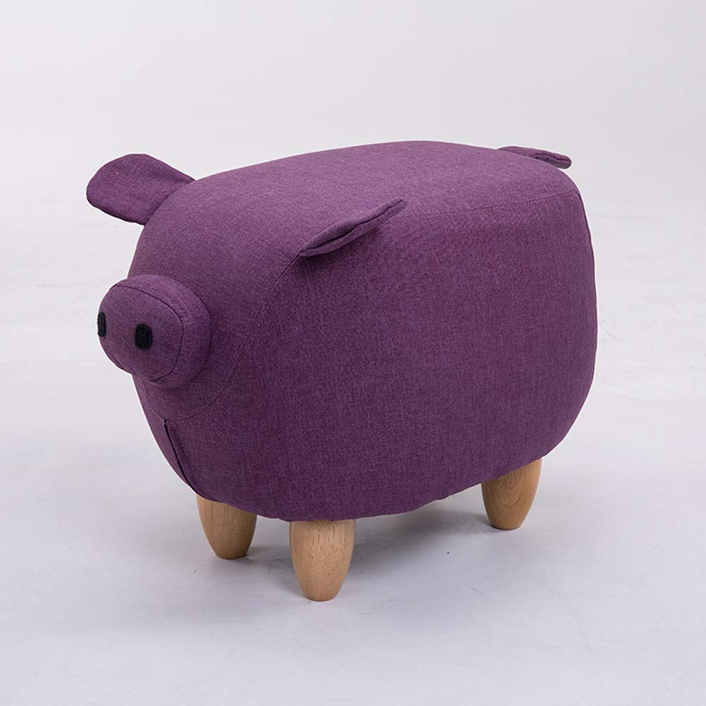 Purple A Animal Footstool,Creative Pig shoes Bench Footstool Sofa Stool Home Decoration Ornaments Test shoes Bench,Purple,A