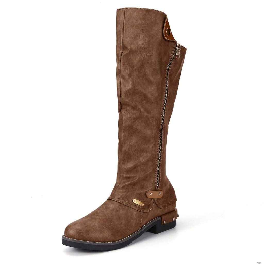 Pongfunsy Women's Knee High Boots Women Fashion Western Style Cowboy Riding Boots Casual Knee Middle Tube Boots (8, Brown) by Pongfunsy