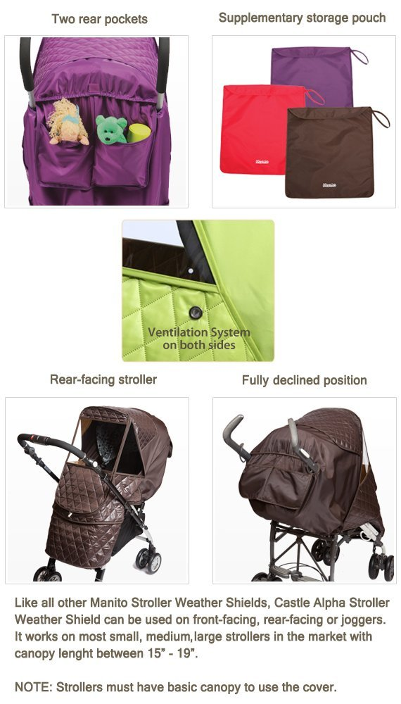 Manito Castle Alpha Stroller Weather Shield (Chocolate) by Manito (Image #5)