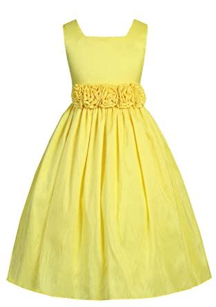 2e6d55bef33f Amazon.com: Sweet Kids Little Girls' Slvless Rolled Flw Waistband Dress 4  Yellow SK 3047: Special Occasion Dresses: Clothing