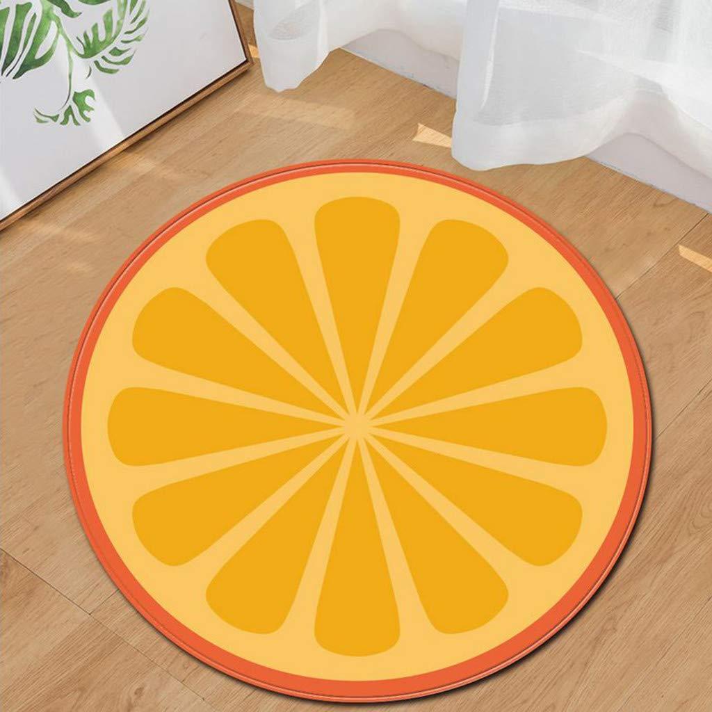 Emptystar Door Mat Simulated Fruit Round Flannel Bathroom Kitchen Carpet Round Floor Mat Anti-Slip Mats Rugs for Living Room Bedroom Infront Door