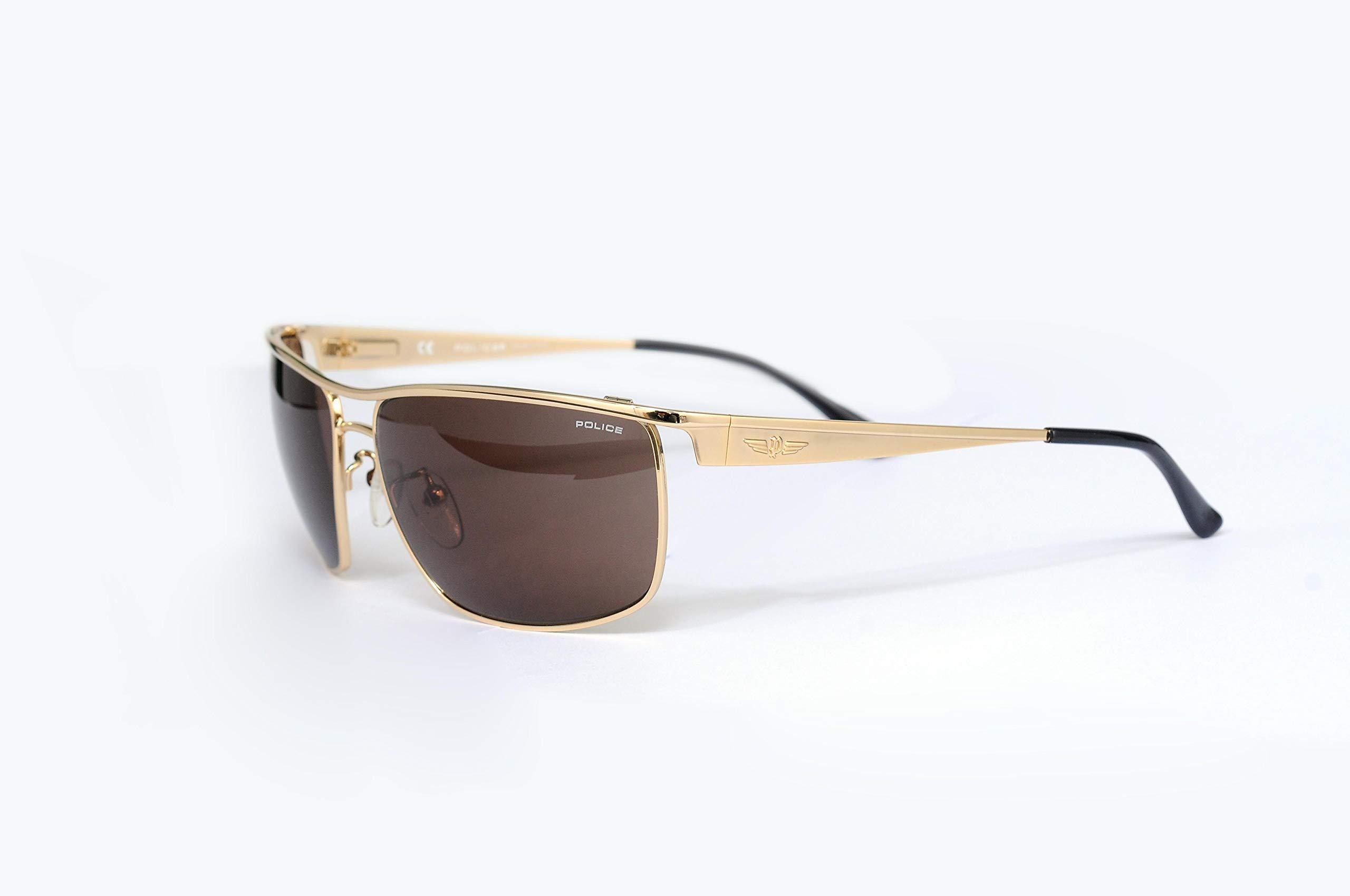 015eb9980 سعر بوليس نظارة شمسية للرجال إطار ذهبي مع مرآة بنية S8516-349B فى ...