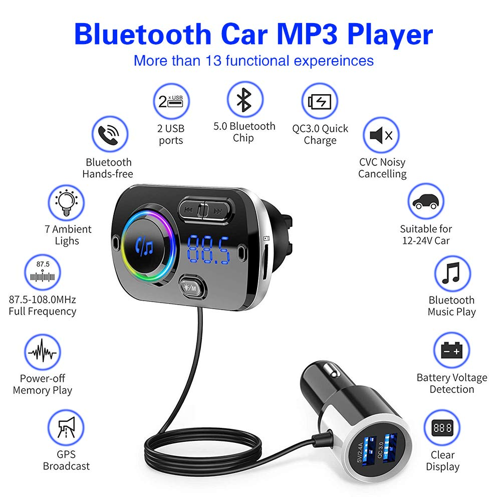 5 V//3 A m/áximo ZUKABMW Transmisor FM manos libres puerto dual USB kit de audio de radio para coche con salida QC3.0 Reproductor de MP3 Bluetooth 5.0 compatible con tarjeta TF//U disco