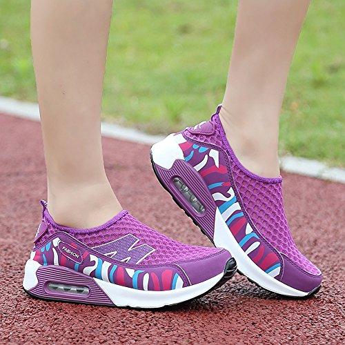 Enllerviid Mujeres Shape Up Slip On Toning Zapatos Air Cushion Plataforma Atlética Zapatos De Malla Púrpura