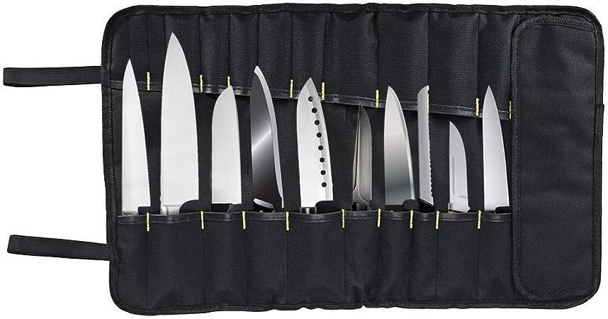 Bolsa de rollo de cuchillos de chef, 22 ranuras para cuchillos, cucharas y tenedores, resistente al agua, estuche de almacenamiento para cuchillos, bolsa de herramientas: Amazon.es: Hogar