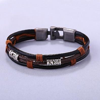 Alloy Hemp String Christmas Retro Bracelet Bangles Genuine Leather Multi-Layer