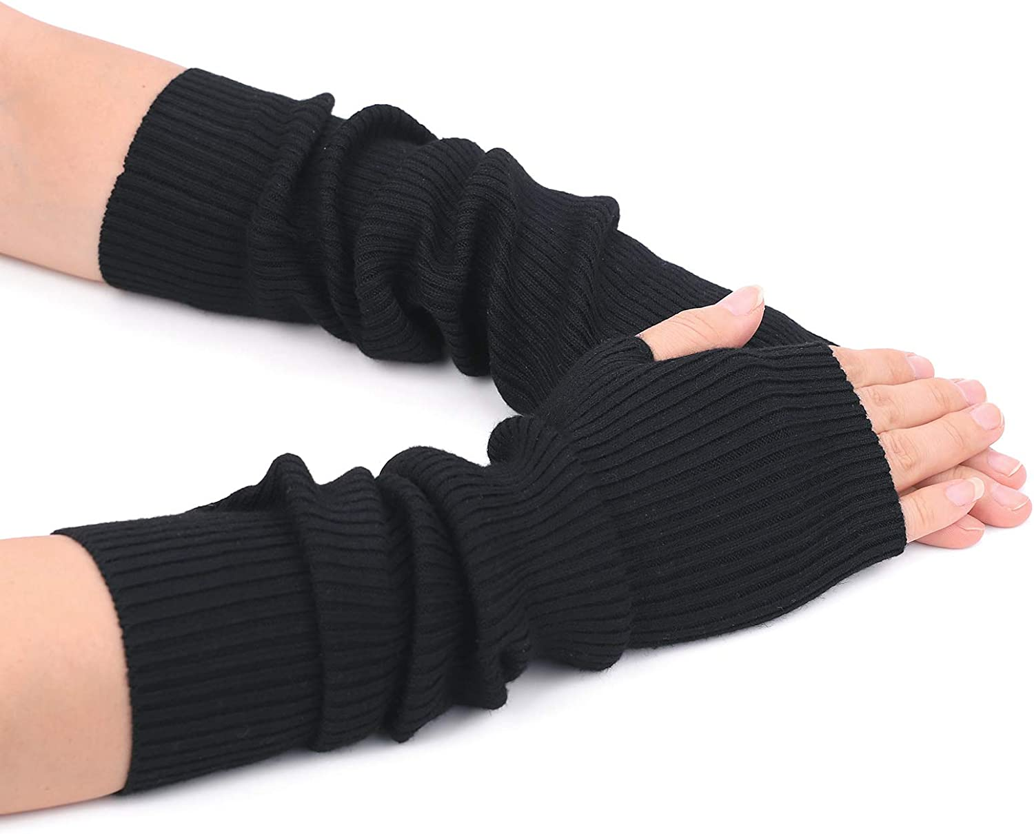 Flammi Women's Knit Arm Warmer Gloves Warm Cashmere Long Fingerless Mittens with Thumb Hole (Black) at  Women's Clothing store