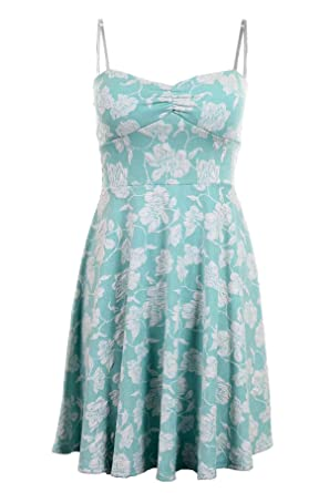 36fdd286537 Ladies Padded Boobtube Thin Strap Floral Sexy Skater Flare Women s Party  Dress  Mint ...