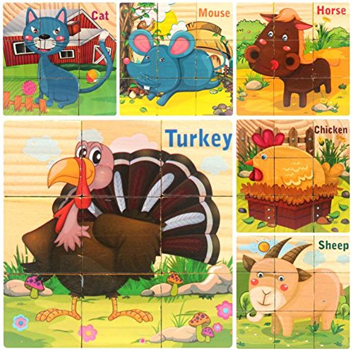 DDTOP Wooden Jigsaw Puzzles 6 Sides Farm Animal Picture Horse Turkey Mouse Sheep Cat Chicken Enlightenment Toy Building Blocks Stimulate Child Imagination Creativity Cube Block