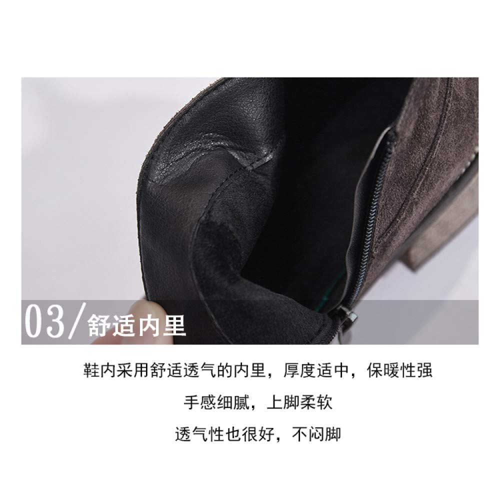Qingchunhuangtang Dick mit Stiefeletten Damen Frühjahr und Herbst Herbst Herbst Stiefeletten wildes Peeling mit Retro-Chelsea-Stiefeln ff0922