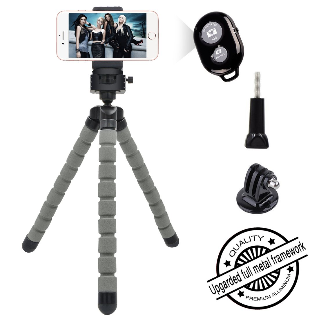 Phone Tripod, [Upgraded Full Metal Framework] Flexible Mini Tripod with Remote Shutter and Universal Phone Clip, Bukm Portable Tripod Stand for Iphone, Android iOS Smartphone, iPad, Camera, Gopro