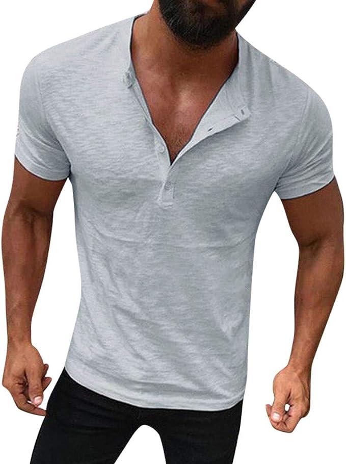 VPASS Camiseta para Hombre, Verano Cuello v Camisetas Manga Corta ...