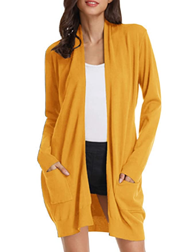 Women Classic Open Front Soft Drape Long Cardigan with Pockets (2XL,Ivory)