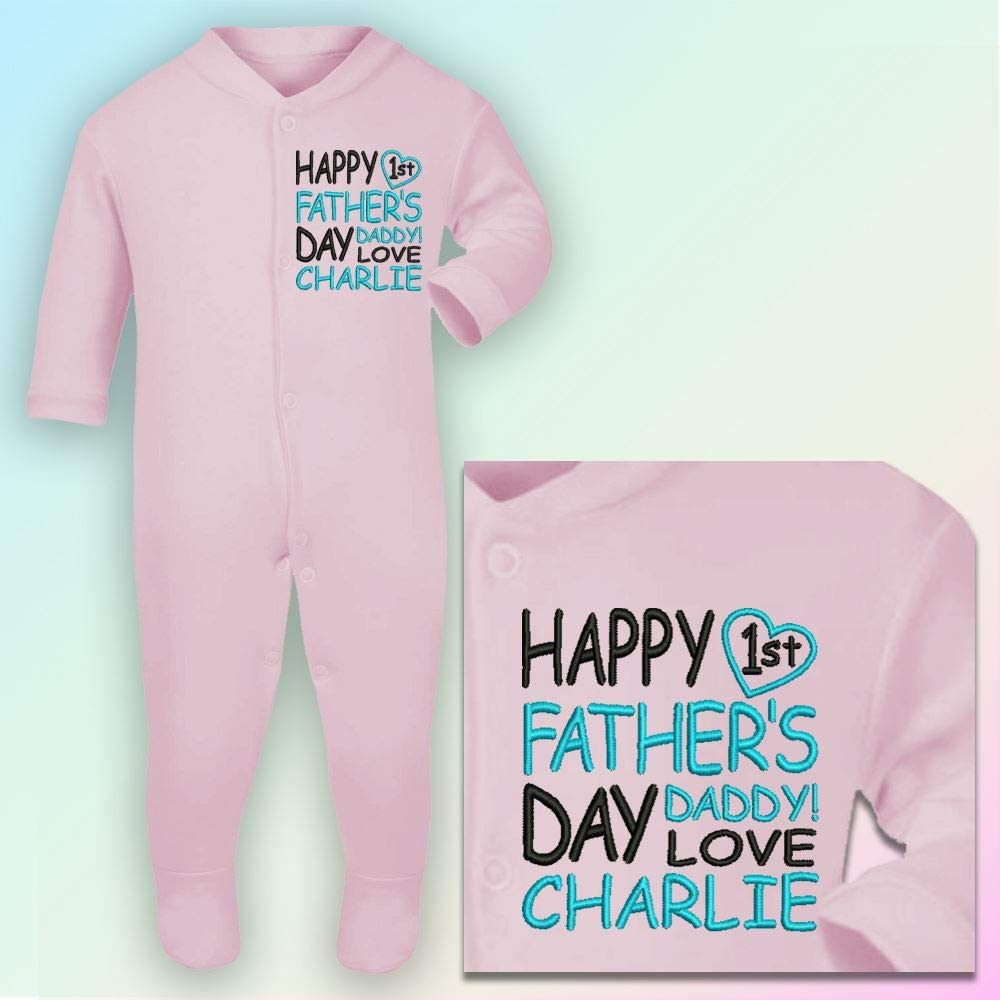 3-6 Months Embroidered Black /& Red Thread Sleepsuit in Baby Pink Happy 1st Fathers Day