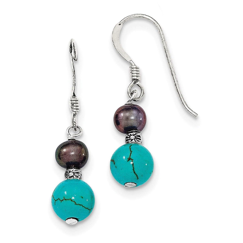 .925 Sterling Silver Black Freshwater Cultured Pearl /& Teal Stone Dangle Earrings