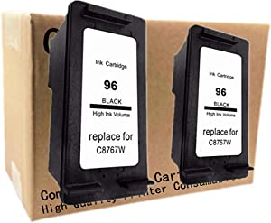 No-name Remanufactured Ink Cartridges Replacement for HP 96 XL 96XL HP96 HP96XL Photosmart 2610 2710 8030 8150 8450 8750 Officejet 7210 7410 Inkjet Printer (2 Pack)