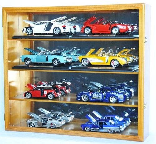1/18 Scale Diecast Display Case Cabinet Holder Rack w/ UV Protection- Lockable with Mirror Back, (Diecast Display Cabinet)