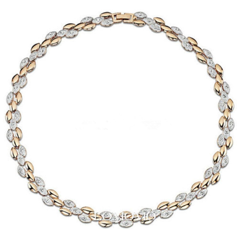 quilates de plata y oro de cristal Swarovski Elementos trigo Oído Gargantilla
