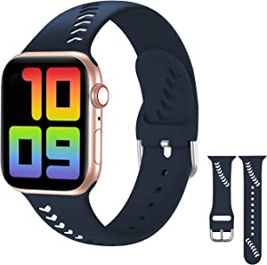 Aopigavi Sport Band Compatible with Apple Watch Band 40mm 38mm iWatch Band Women Men, Unique Breathable Baseball Silicone Band Compatible for Apple Watch SE Series 6 5 4 3 2 1,Navy Blue