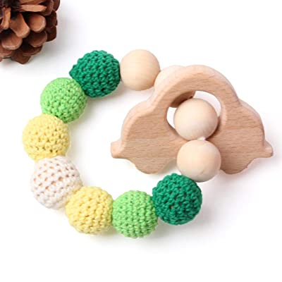 HI BABY MOMENT Organic Natural Beech Wood Teething Ring, 100% BPA Free Wood Teether Teething, Pain Relief Toy, Car - Turquoise: Toys & Games