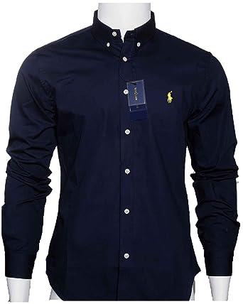 6fe83812bb4 Polo by Ralph Lauren Chemise pour homme en coton piqué coupe slim Bleu  marine or