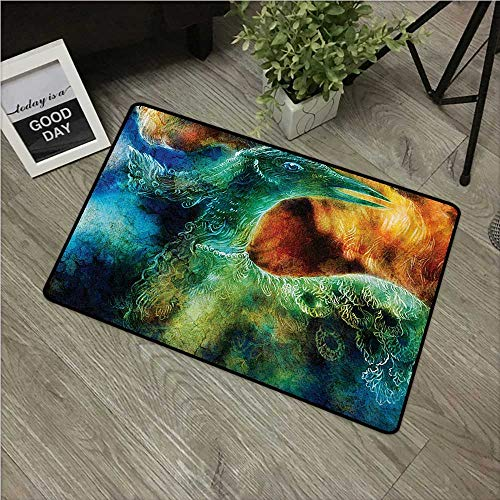 "HRoomDecor Fantasy,Custom Floor Mat Mythical Legendary Phoenix Rebirth Long New Life from The Ashes Sun Exceptional Image W 20"" x L 31"" DoormatsMulti"