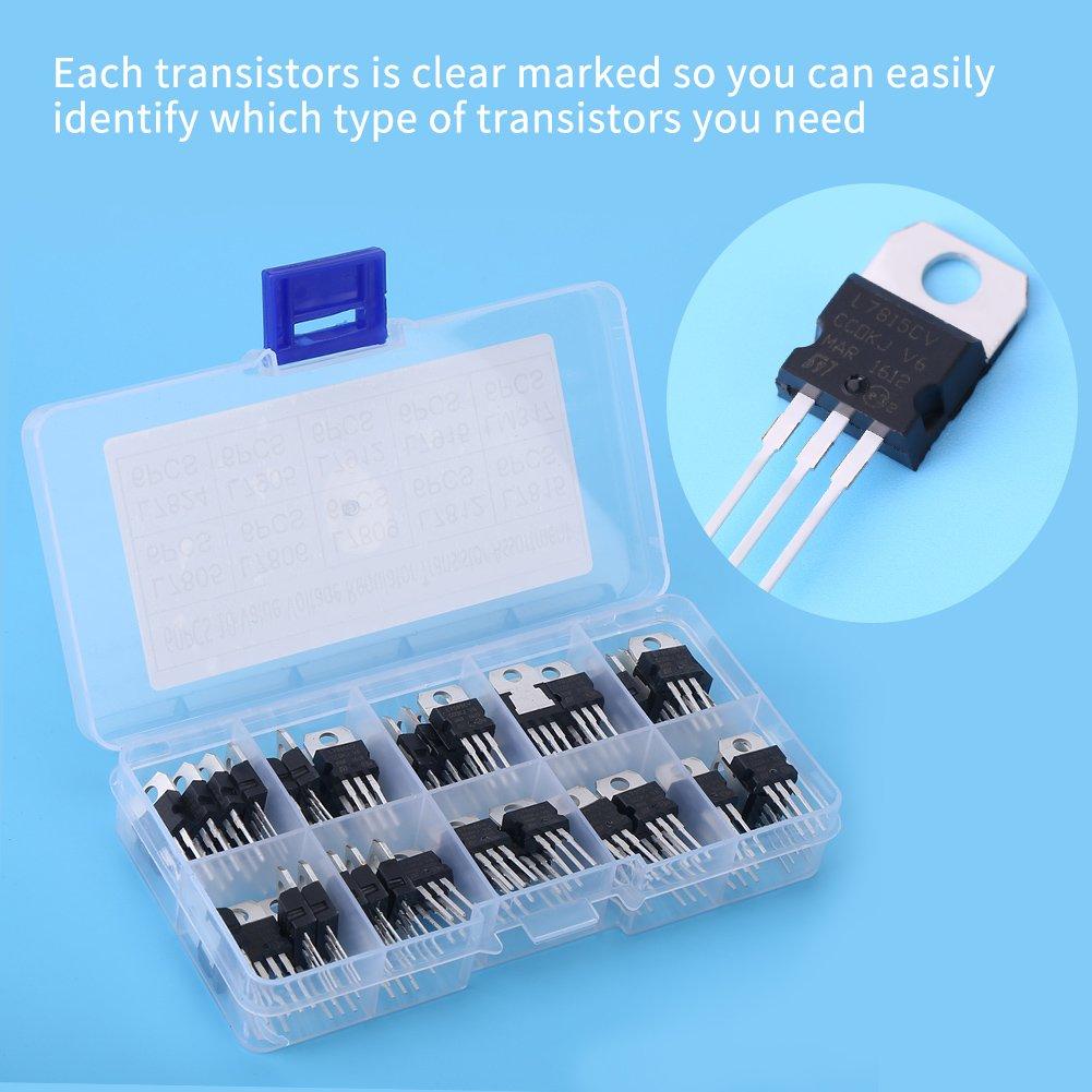 60 St/ück 10 Werte L7805CV-LM317t Transistor-Sortiment-Set mit Aufbewahrungsbox Transistor