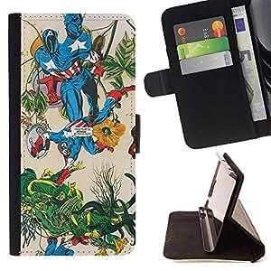 GIFT CHOICE / Billetera de cuero Estuche protector Cáscara Funda Caja de la carpeta Cubierta Caso / Wallet Case for Apple Iphone 4 / 4S // Funny Comic Superhero Fight //