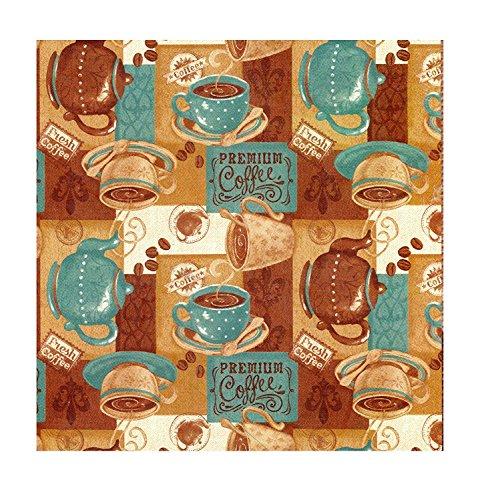Fresh Coffee PEVA Vinyl Tablecloth Flannel Backed (60 X 8.
