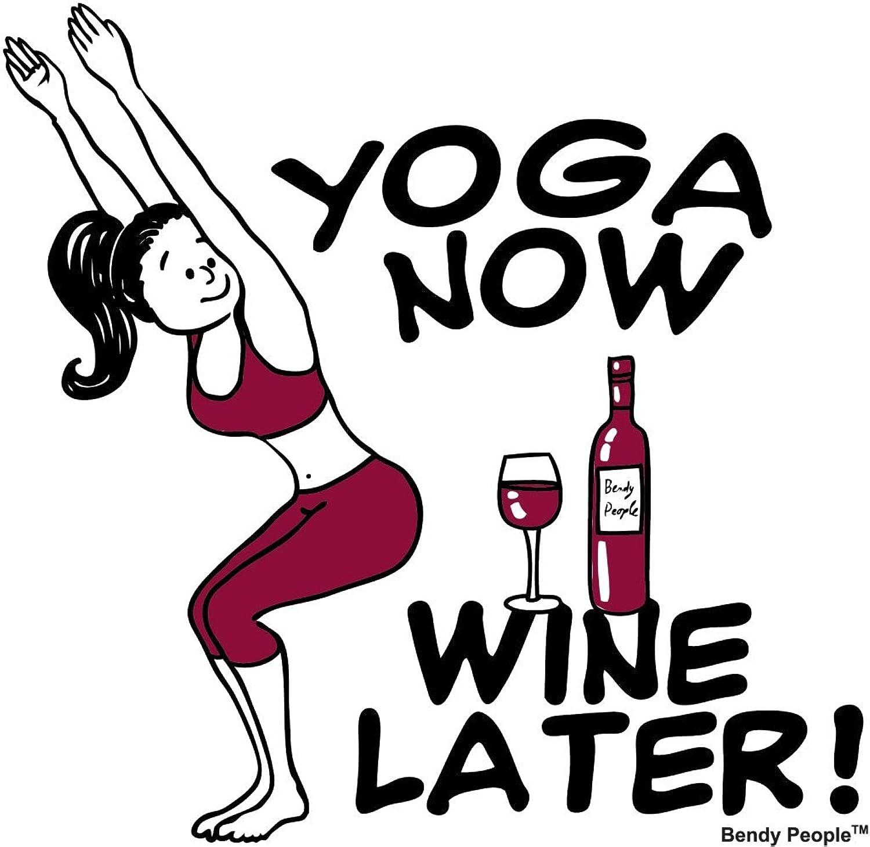 """""""Bendy People"""" Ladies Yoga Now Wine Later Sheer Scoop Tee Shirt"""