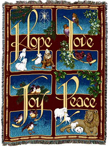 Hope Tapestry Throw - Pure Country Weavers   Hope Love Joy Peace Woven Tapestry Throw Blanket with Fringe Cotton USA 72x54