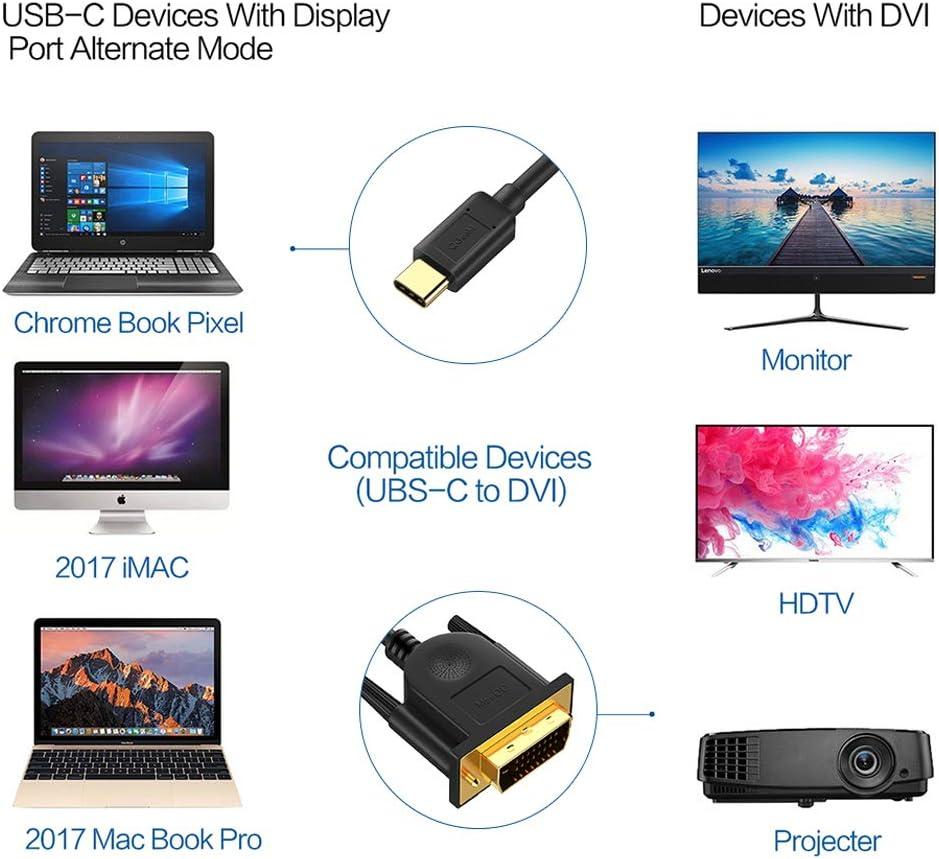 QGeeM C/âble Adaptateur USB C vers DVI 24+1 M/âle 4K@30Hz C/âble Compatible avec 2018 MacBook Pro Surface Book 2 Dell XPS 13 Galaxy S10-1,8m 4K@30Hz Thunderbolt 3 vers DVI 4FT USB 3.1 Type C vers DVI