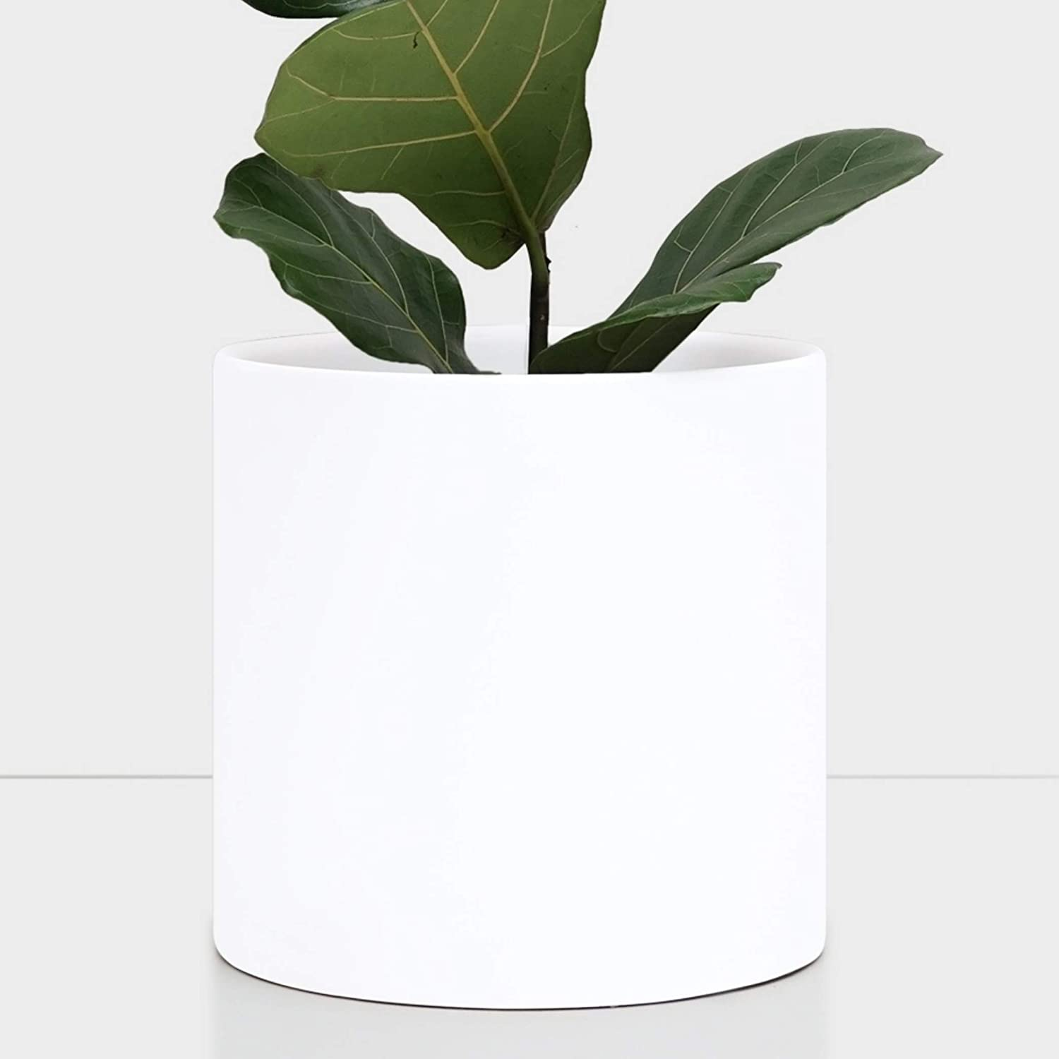 Indoor Plant Pot Ceramic Indoor Planter – Modern Terracotta Flower Pot Perfect for Plant Stands and House Plants 11 inch, White