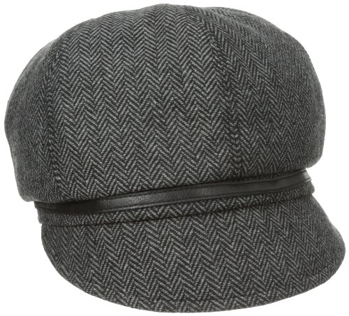 San Diego Hat Company Women's Belted Herringbone Newsboy Hat, Black, One Size