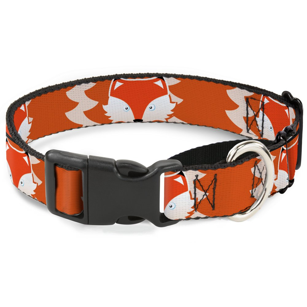 Buckle-Down Fox Face Tail orange Natural Martingale Dog Collar, 1  Wide-Fits 15-26  Neck-Large
