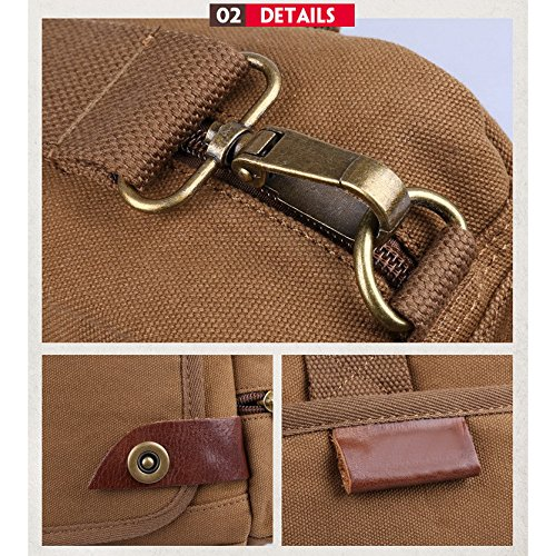 Shoulder Multifunction Bag Handbag Brown Canvas Casual Messenger Men's Trendy Yxlong qf8wxEgw