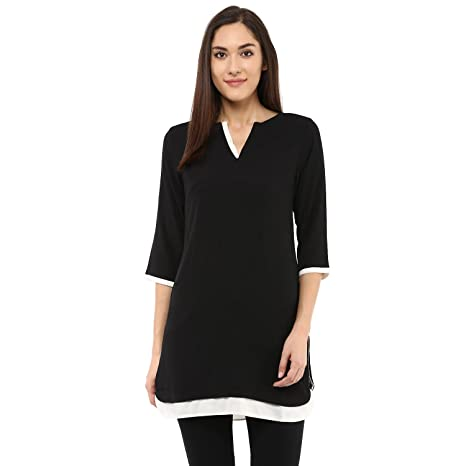109 F Women Polyester 3/4th Sleeves Black Solid Tunic Women's Tops
