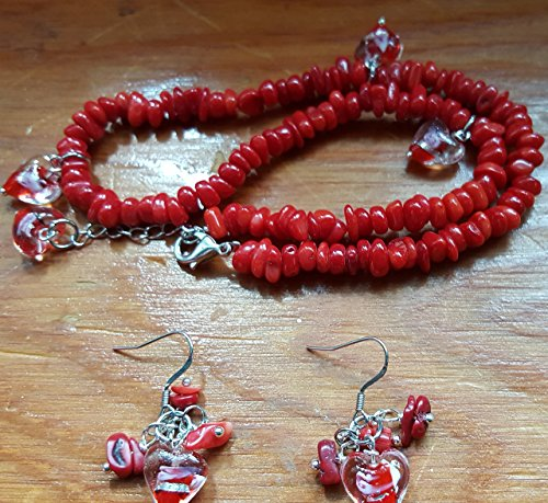 (Coral Italian Murano Glass Necklace & Earring Set In Red)