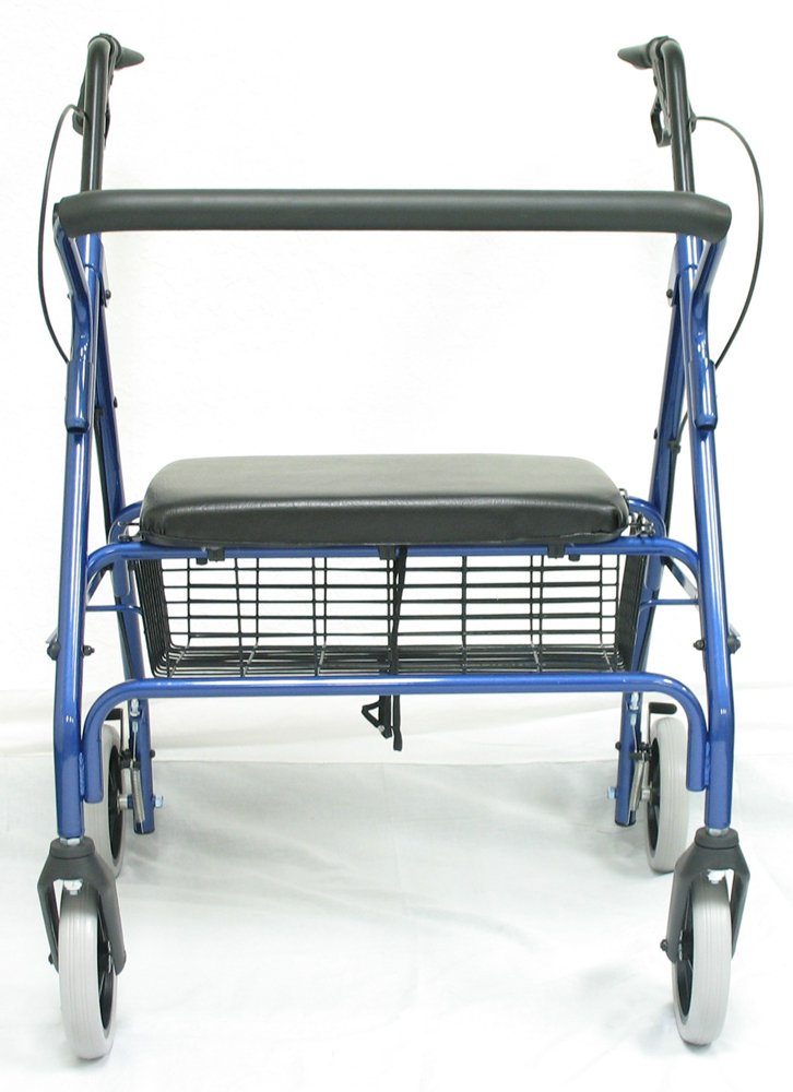 Karman Healthcare R-4700W-BL Extra Wide Steel Rollator, Blue, 8 Inches Heavy Duty Casters
